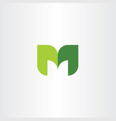 m logo letter leaves green eco icon vector image
