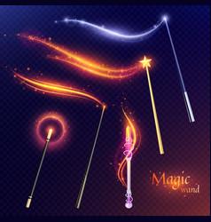 Magic wands transparent set vector