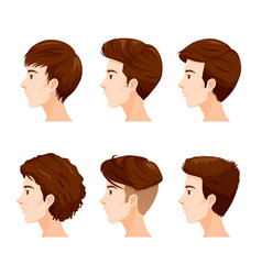 Man faces with different hairstyles set vector