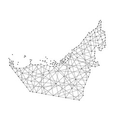 map of united arab emirates from polygonal black vector image