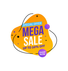 mega sale template design tag vector image
