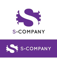 minimalistic violet S letter logotype vector image