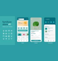 mobile app user interface ui kit ux of furniture vector image