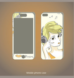 Mobile phone cover back and screen vector