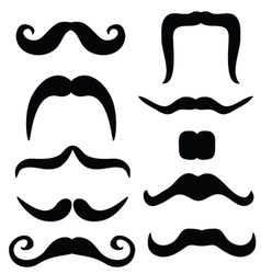 mustache set black vector image