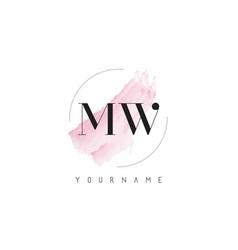 Mw m w watercolor letter logo design vector