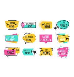 news badges newspaper and magazine braking latest vector image