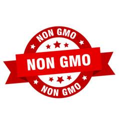 non gmo ribbon non gmo round red sign non gmo vector image