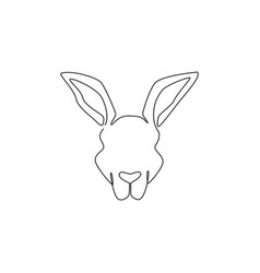 one single line drawing cute kangaroo head vector image