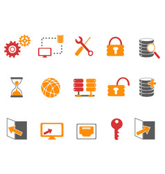 orange and red color database technology icons set vector image