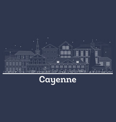 Outline cayenne french guiana city skyline with vector