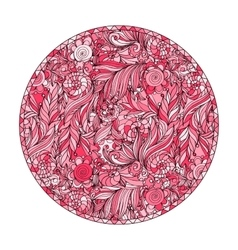 Pink romantic round patterns for meditation design vector image