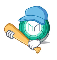 Playing baseball maker coin character cartoon vector