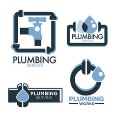 Plumbing service logo set with pipes and water vector