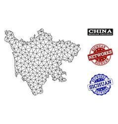 Polygonal network mesh map of sichuan vector