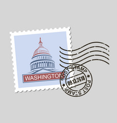 Postage stamp with american symbols vector