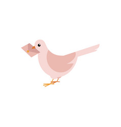 Postal dove carrying letter in his beak isolated vector