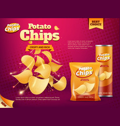 Potato chips bag and tube box snack food packages vector