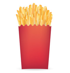 real french fries in a red package vector image