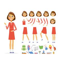 Schoolgirl - cartoon people character vector