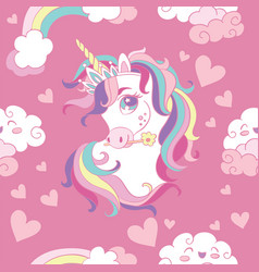 seamless pattern with heads unicorn and hearts vector image