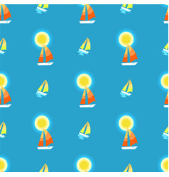 seamless pattern with sun yacht or sailing ship vector image