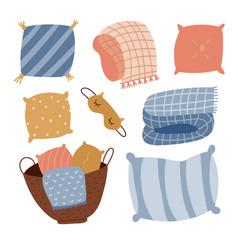 set cute cartoon pillows blankets and plaids vector image