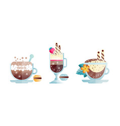 set different coffee drinks glass cups of vector image