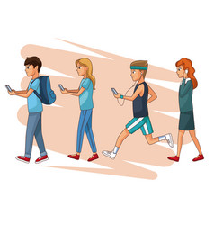 set of people using smartphone vector image