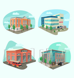set service department or building vector image