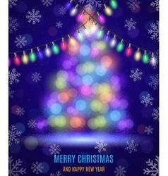 Shiny fir tree with Christmas lights vector image