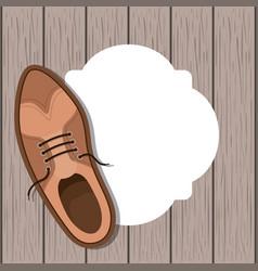 Shoe masculine over wooden background vector