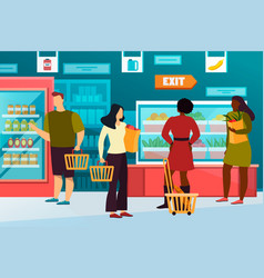 Simple man woman at grocery or food shop mall vector