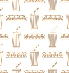 Sub sandwich cola cold drink paper cup outline vector
