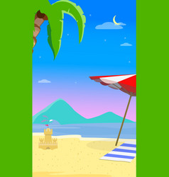 summer empty beach background holiday flyer banner vector image