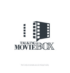 Talking movie box logo design minimal vector