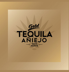 Tequila emblem blue agave logo gold vector