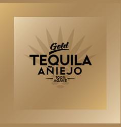tequila emblem blue agave tequila logo gold vector image