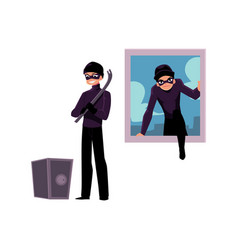 thief burglar climbing into house window going vector image