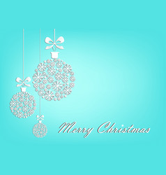 three white christmas balls on turquoise vector image