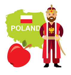 travel concept poland flat style colorful vector image