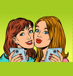 two girlfriends selfie smartphone vector image