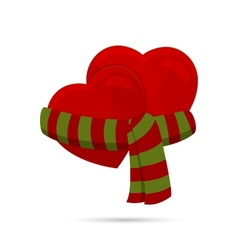 two hearts wrapped up with a scarf vector image