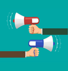 Two people against each other with megaphones vector