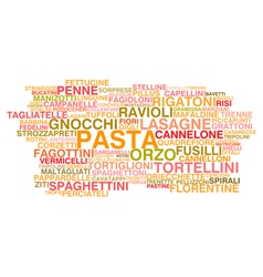 Types of Italian pasta vector