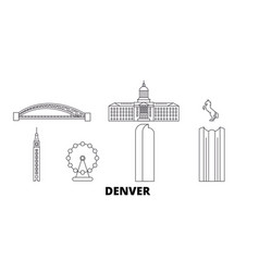 united states denver line travel skyline set vector image