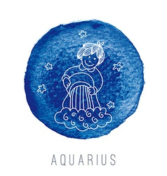 Watercolor of the water-bearer aquarius vector
