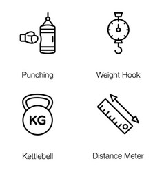 weightlifting tools line pack vector image