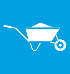 Wheelbarrow with sand icon white vector