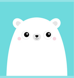 white polar bear cub face cute cartoon kawaii vector image